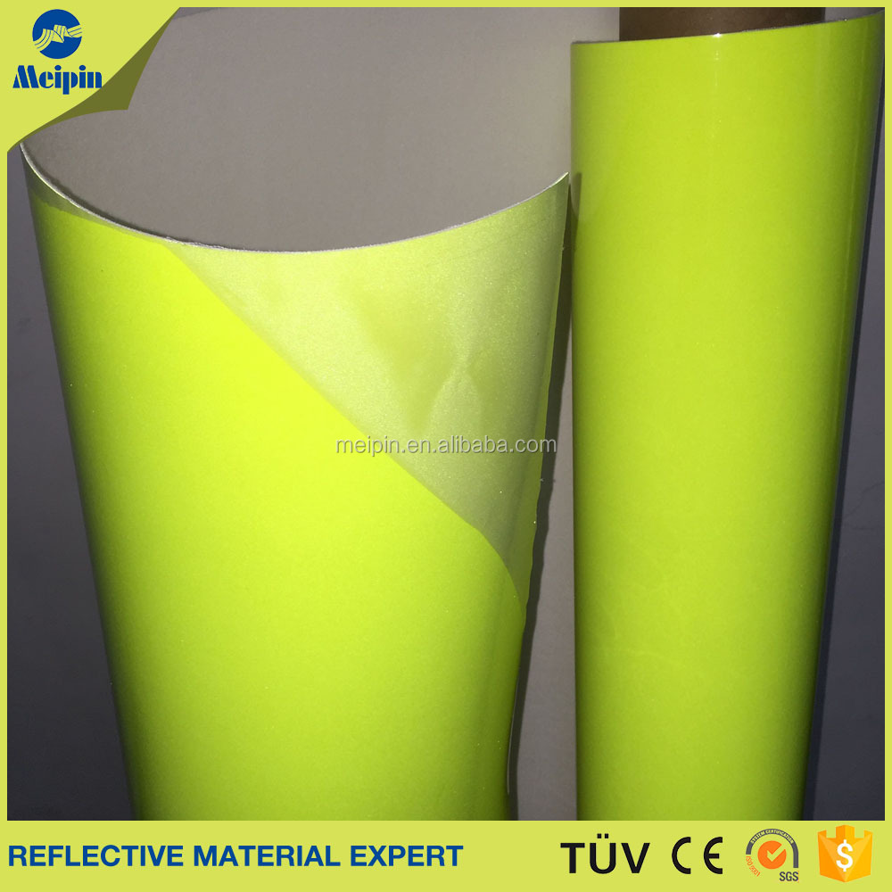 0.8mm Yellow Reflective PU Sports Shoes Fabric Material