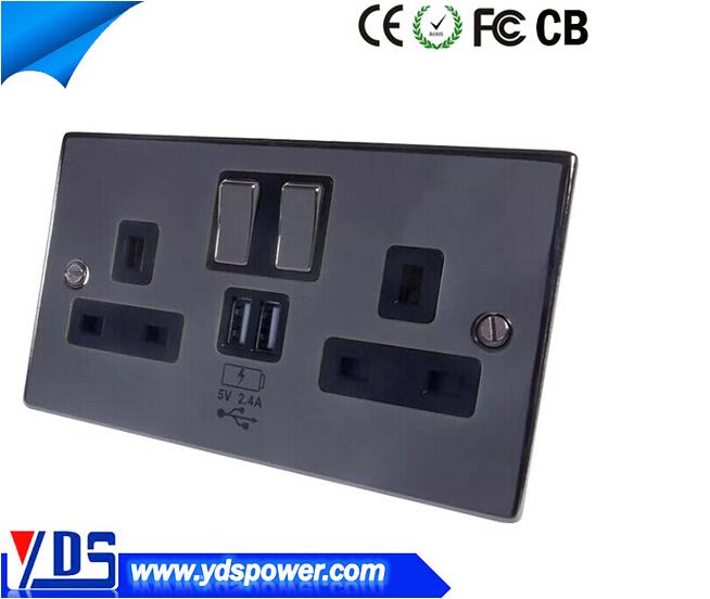 Brushed Steel Usb Double Sockets Standard Amp Led Dimmer
