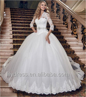 Vintage Princess Ball Gown Wedding Dress With Three Quarter Sleeve Sexy V Neck Shining Crystal Beaded Sash Bridal Gowns ML063