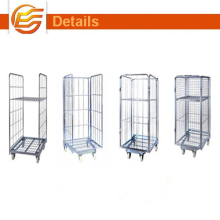 Metal wire rolling storage cage/Stainless Trolley for Supermarket