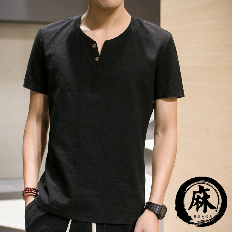 Free Shipping Hot Sale V-neck Short Sleeve Blank Linen Casual T-Shirt for Men M-5XL