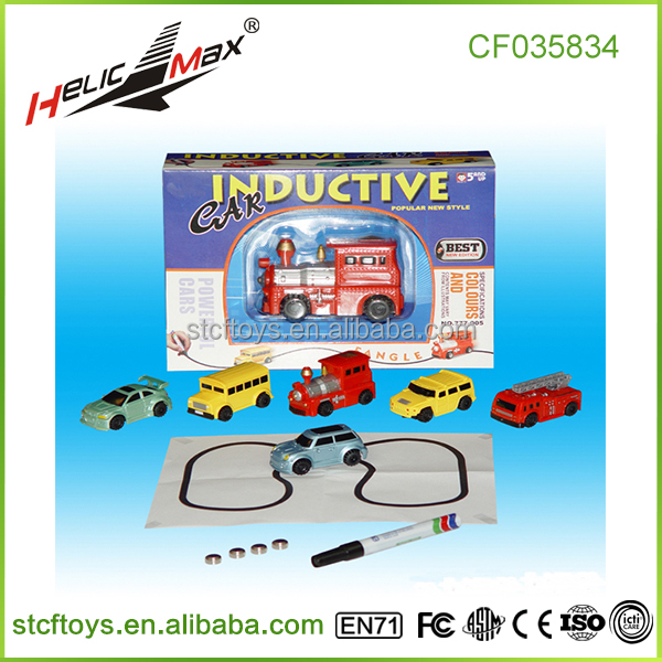 new products creative automatic recognition Induction drawing lines electric cars kids play car plastic toy train