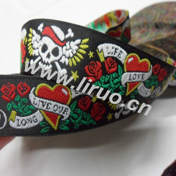 Woven floral jacquard ribbon for decoration