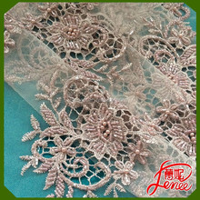 REASONABLE PRICE MESH EMBROIDERY FABRIC WITH HANDMADE SEQUINED BEADS
