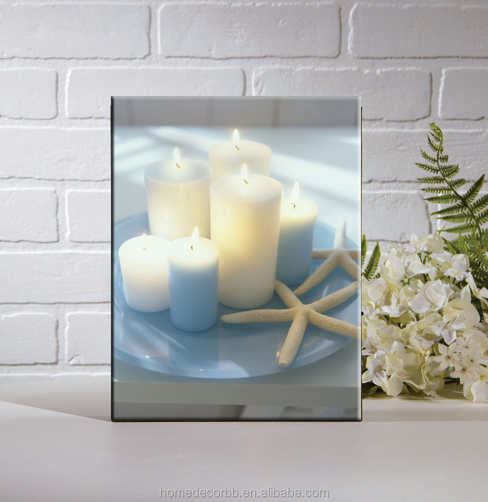 wholesale led candle pictures canvas print with led lights. Black Bedroom Furniture Sets. Home Design Ideas
