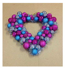 Heart shaped Tinsel bauble wreath for decoration