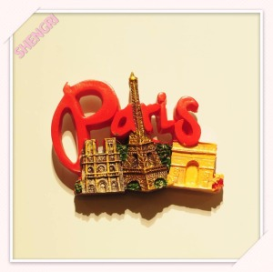 Paris 3D handmade Craft custom souvenir hot sell polyrsin tourist fridge magnet