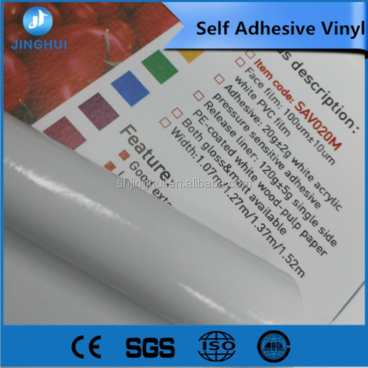 pvc face film white glue self adhesive printing vinyl for car full body