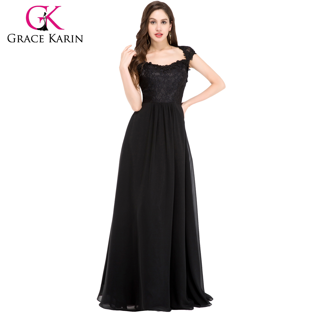 Grace Karin Black Lace Long Tall Mother of The Bride Dresses CL6127
