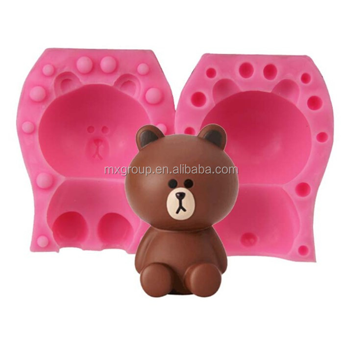 2017 New design FDA/LFGB bear shape silicon cake cheap silicone fondant molds
