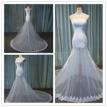 Real Photos Strapless Patterns Designs Custom Made Long Formal Bridal Design Robe De Mariee HS259 factory lace wedding dress