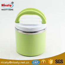 Single layer food grade round leakproof insulated tiffin stainless steel lunch box with foldable handle