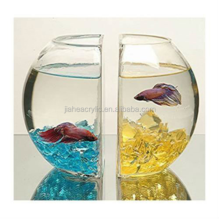 Wholesale clear acrylic glass mini fish bowls oval for Fish bowls in bulk