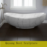 2017 Quyang Carivng Solid Stone White Marble Bathtub for Home Decoration