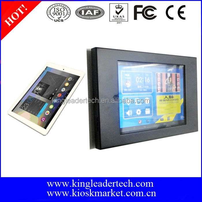 "Lower cost 9.7"" android tablet pc with lockable matt black metal kiosk for wall mount display"