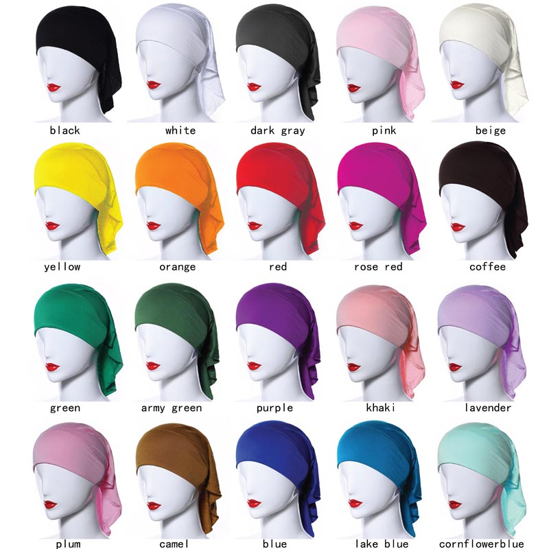 2018 hot sale 20 colors Muslim scarf women hijab headscarf shawl cover cap modal cotton hijabs wraps