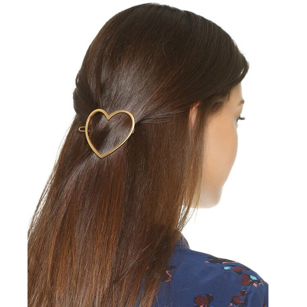 Fashion Heart Shaped Hair Pin Golden Alloy Barrette Hair Clip for Women Girl