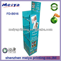 4 tiers hot sale custom blue milk powder cardboard floor display stand for baby products with high quality