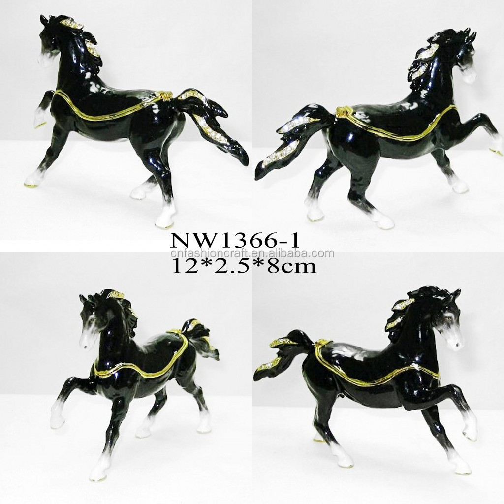 Black Horse metal trinket box pewter box golden plated enamel hand painted