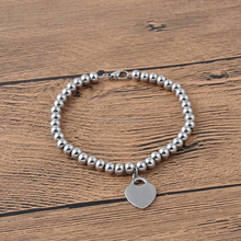 New design simple stainless steel bead with heart lock charm beaded bracelet monogrammed jewelry