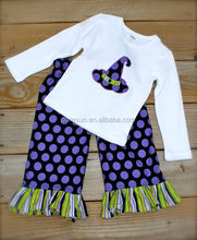Wholesale baby girls boutique polka dots halloween clothing kids custom long sleeve clothing sets