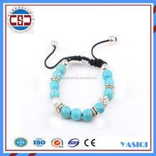 Fashion Laughing adjustable silver charm gemstone bead bracelet European Turquoise beads Bracelets for sex women and men