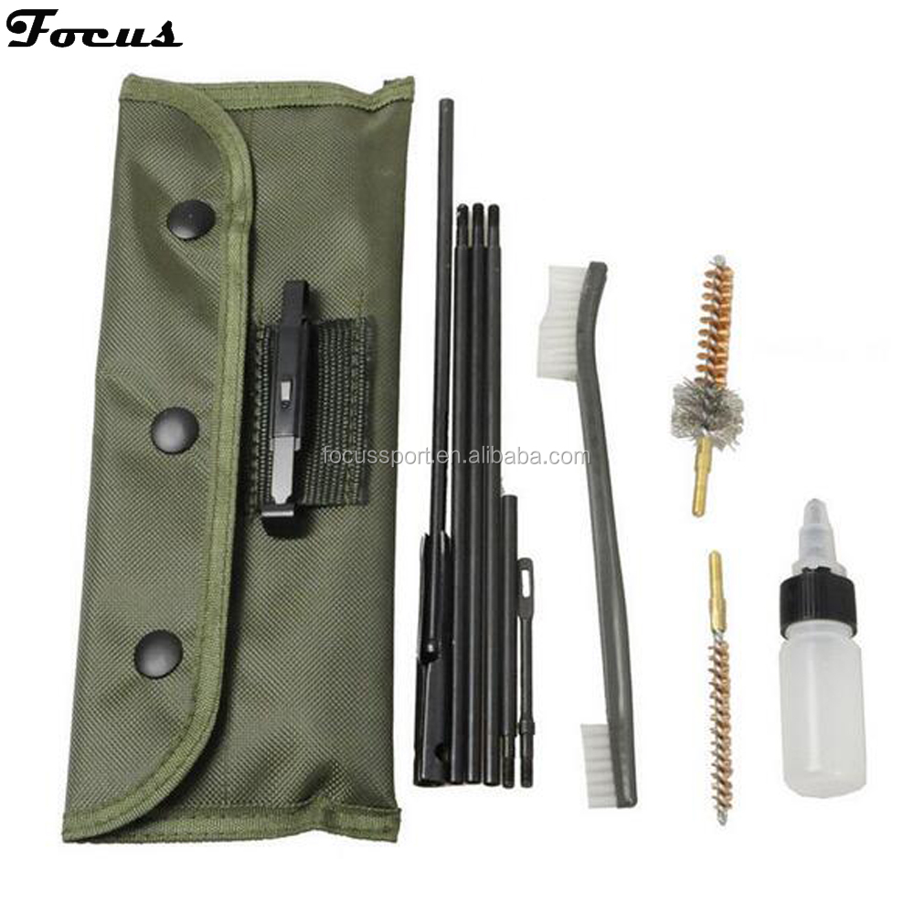 Hunting Rifle Shot Gun Cleaning Kit Fit Pouch For 22LR 223 556 Rifle Gun 10Pcs