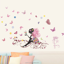 Removable PVC living room children's room flower faerie beautiful sexy girl wall stickers for decoration wallpaper