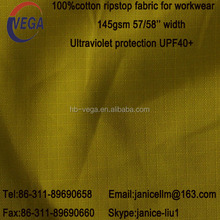 145 gsm yellow color Anti UV 100% cotton ripstop fabric