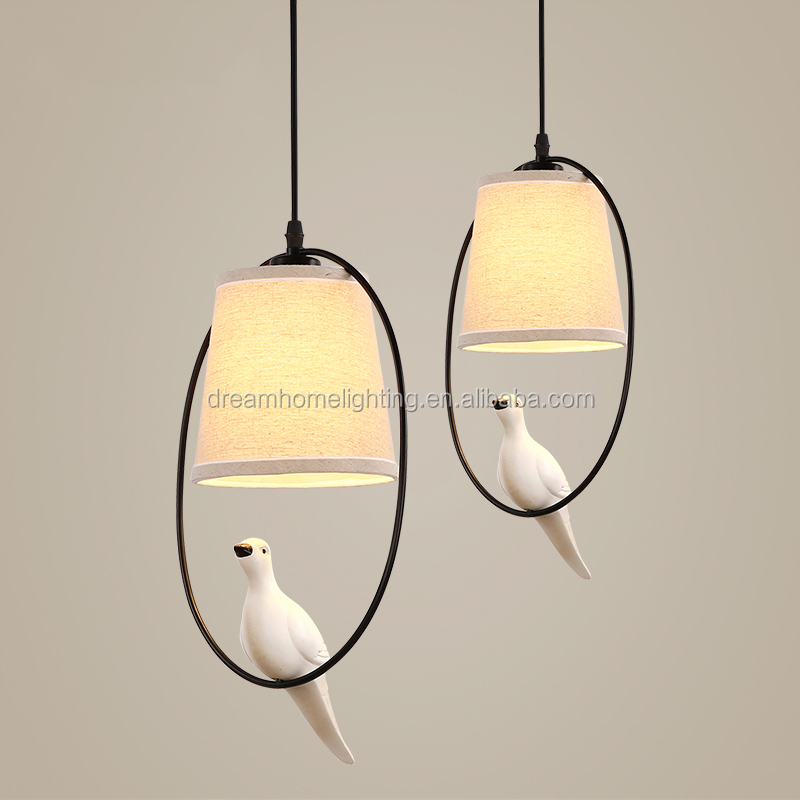 American style fabric e27 pendant lights with bird decoration in iron