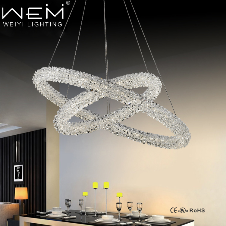 Elegant simple LED crystal hanging light pendant lamp
