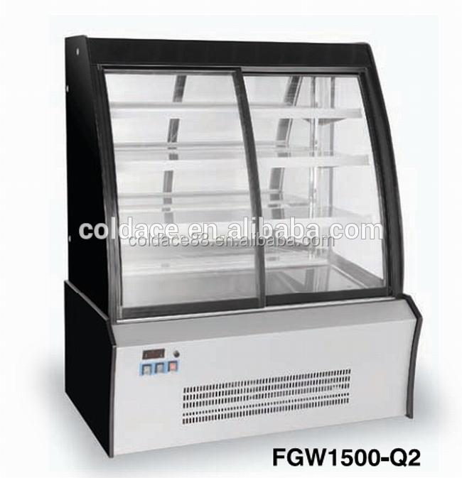 2015 Commercial Low Price High Quality Curved Aluminum Glass Display Cabinet Showcase