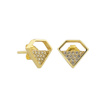 GZ9-122C cheap wholesale stud earring diamond shape design real silver jewelry