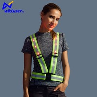 cheap inexpensive led flash safety green blue reflective vest