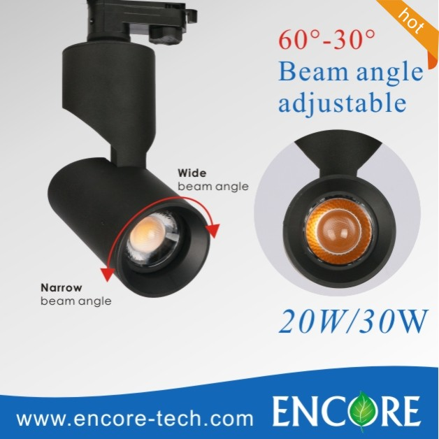 wholesale black high CRI>85 90lm/w 20w 30w beam angle adjustable focusing cob led track lighting