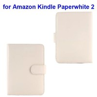 Litchi Texture Magnetic Button Protective Leather Case Cover for Amazon Kindle Paperwhite 2