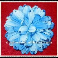 Decorative Blue Frayed Fabric Flower For