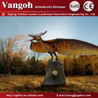 VGQT28-park decoration fiberglass dragon creative design dinosaurs outdoor dustbin