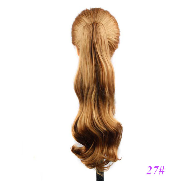 Gold Brown Color Top Quality Synthetic Hair Claw Clip Ponytail Hair Extensions for Women