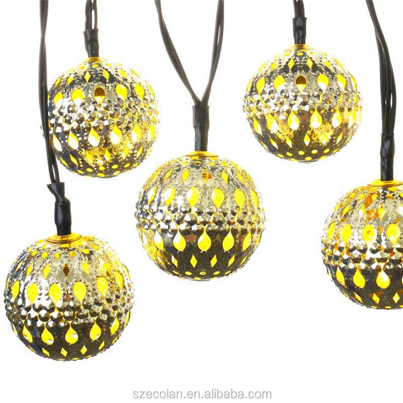 Hot Metal Solar Battery Power Xmas String Light LED Ball/Star/Heart Party Decor