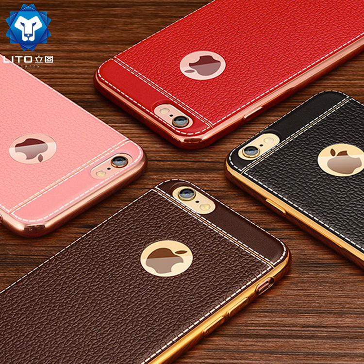 Factory price electroplating leather pattern tpu cell phone case for <strong>iphone</strong> 6 6s 7 7 plus X