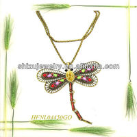 Top beautiful dragonfly muitl color crystal pendant necklace