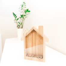 Solid wood house coin bank box for kid gift