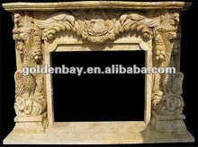 beige marble fireplace mantle surround