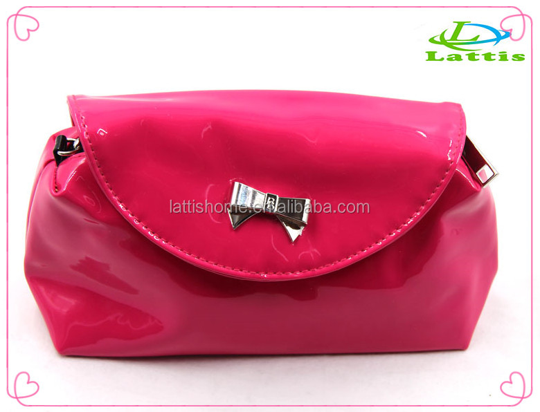 embossed cosmetic promotion bag new design factory PU Shiny Pink cosmetic bag