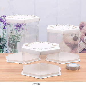 Hot sale hexagonal Visible Clear Plastic Paper Packaging Birthday Cake Box with custom logo
