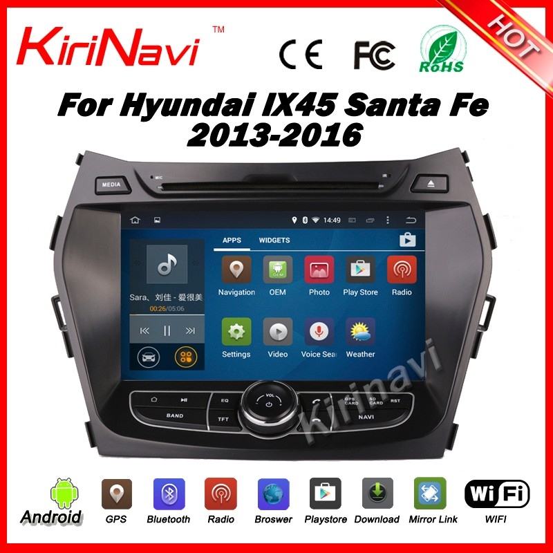 "Kirinavi WC-HIX7201 android 5.1 8"" car navigation multimedia 2din gps for hyundai santa fe 2013-2016 with steering wheel control"