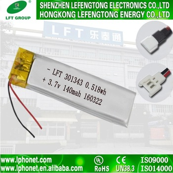 long lasting 301343 3.7v 140mah li po battery rechargeable battery pack for home appliances