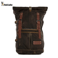 2016 Moshi Wholesale High Quality Canvas Leather Backpack Waxed Canvas Backpack Hiking Travel Backpack with Leather Trim 5040