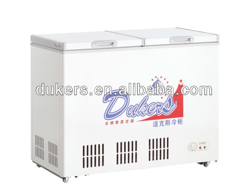 Dual temperature chest freezer& fridge,two doors deep freezer.refrigerator